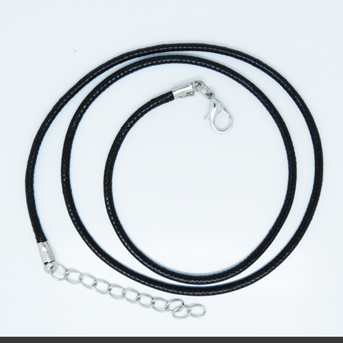 "Woven Necklace - Black Cord - 18"" + ext (S0720)"