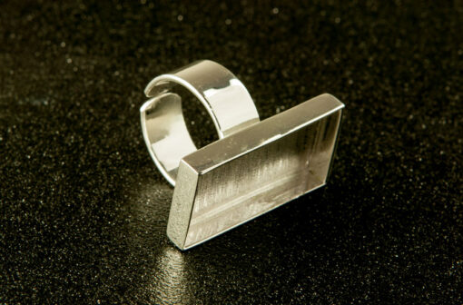 Silver Bezel Small Rectangle Ring
