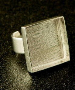 Silver Bezel Square Ring